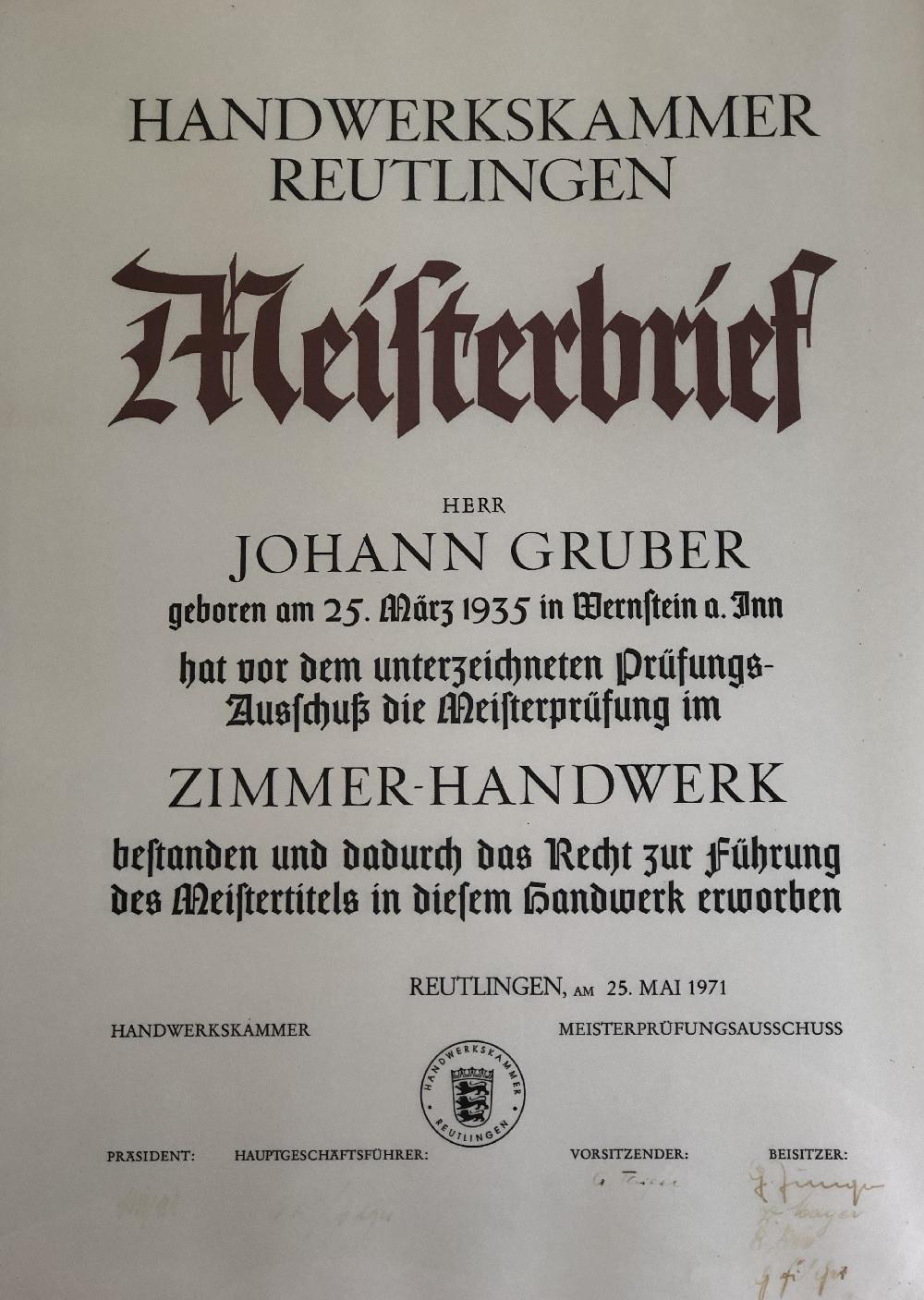 Meisterbrief von Hans Gruber senior 1971-05-25