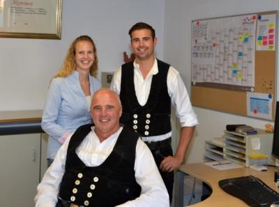 Hans Gruber, Sohn Andreas Gruber und Tochter Franziska Gruber im Oktober 2019